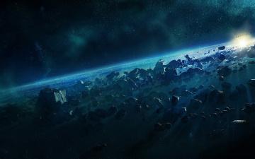 обоя космос, арт, метеориты