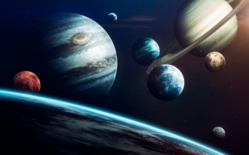 Картинка космос арт system science fiction jupiter uranus луна сатурн mercury venus neptune mars система уран earth space saturn planets венера меркурий нептун юпитер марс moon планеты земля