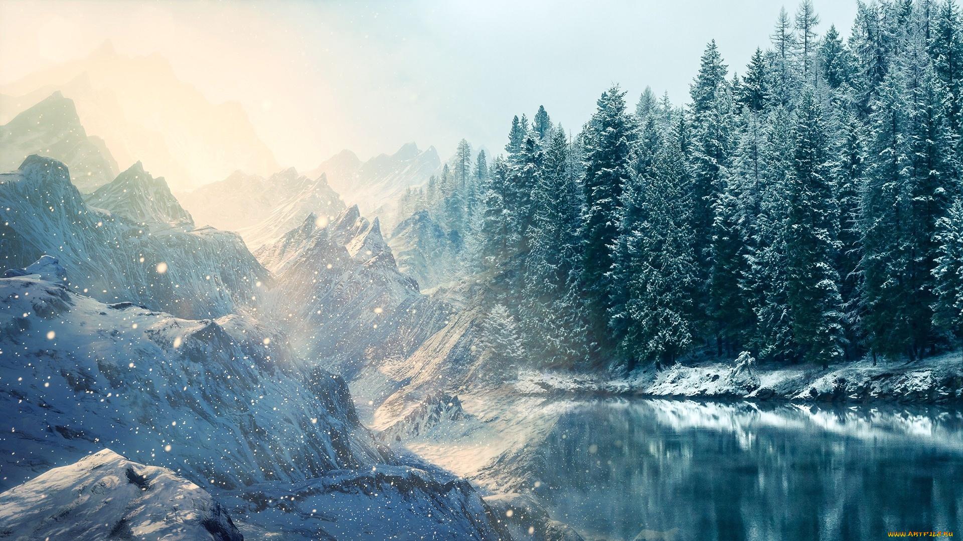 природа снег горы река небо в хорошем качестве