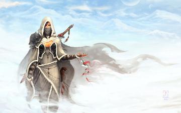 Картинка фэнтези девушки девушка меховая снег зима меч одежда