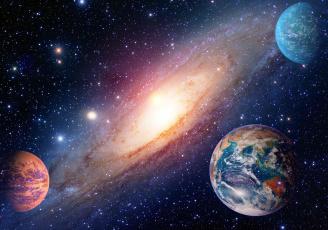 обоя космос, арт, галактика, вселенная, звезды, планеты