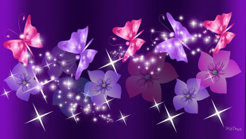 обоя векторная графика, цветы , flowers, бабочки, цветы