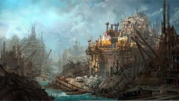 Картинка фэнтези иные+миры +иные+времена разрушение иной постапокалипсис руины мир