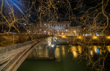обоя города, - огни ночного города, река, мост