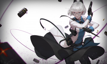 обоя аниме, оружие,  техника,  технологии, девушка
