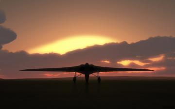 обоя авиация, авиационный пейзаж, креатив, самолет, закат