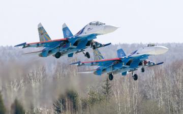 обоя авиация, боевые самолёты, деревья, взлет, пара, самолеты