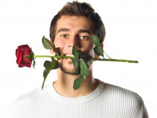 Картинка мужчины -+unsort борода цветок роза парень