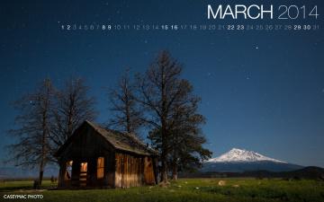 обоя календари, природа, домик, ночь