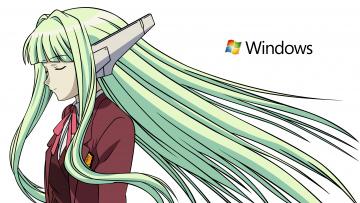 обоя компьютеры, windows 7 , vienna, девушка, взгляд, фон, логотип