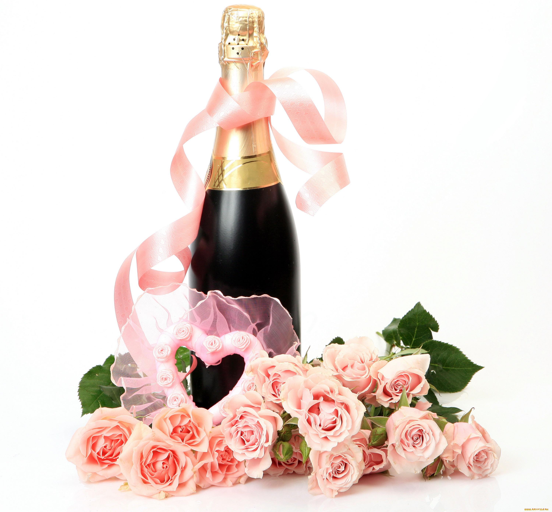 Про друзей, открытки с розами и шампанским