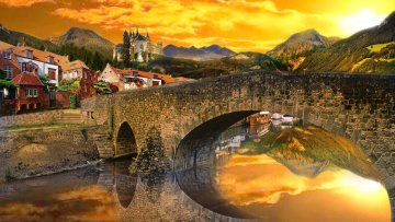 обоя города, - мосты, alexyamato, швейцария, отражение, река, небо, замок, горы, городок, мост