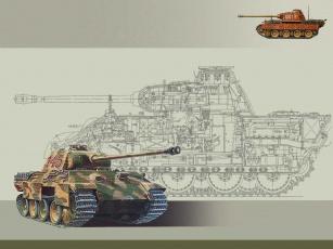 обоя техника, военная, гусеничная, бронетехника, танк, pz, v, пантера