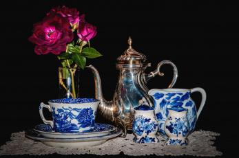 Картинка разное посуда +столовые+приборы +кухонная+утварь сервиз цветы