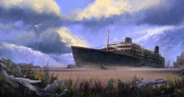 Картинка корабли рисованные остов арт корабль тучи мель трещина