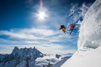 обоя спорт, лыжный спорт, горнолыжный, лыжники, горы, снег, прыжок, экстрим