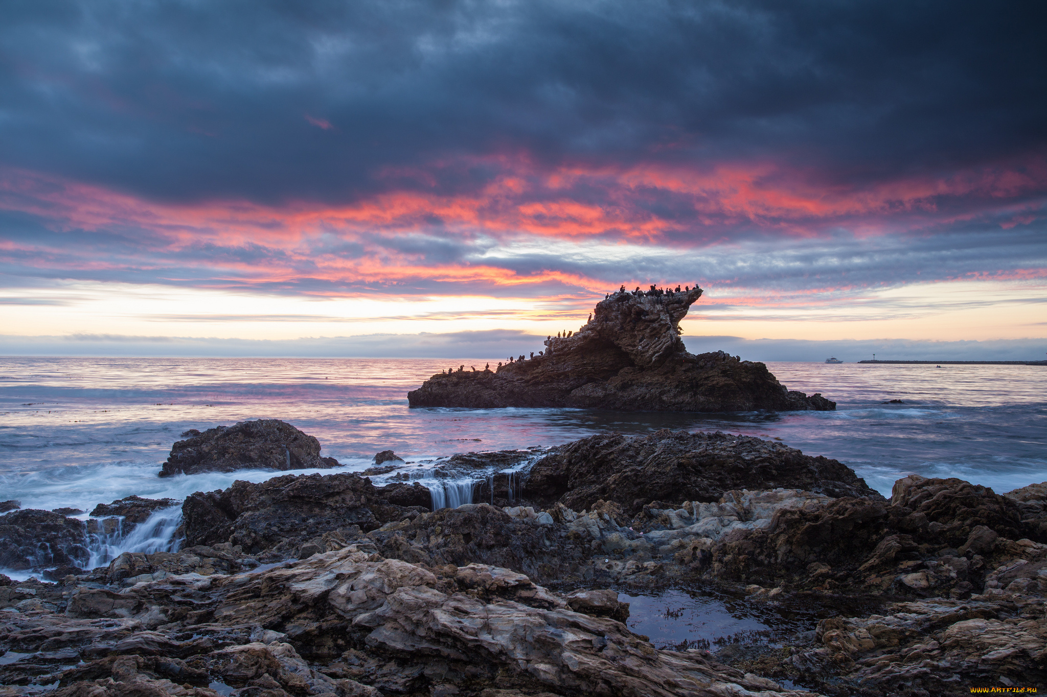 море берег камни закат sea shore stones sunset  № 1033185 загрузить