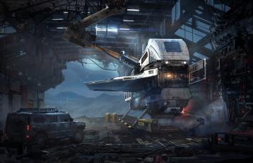 Картинка фэнтези космические+корабли +звездолеты +станции джип будущее ангар иной мир аппарат летательный