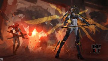 Картинка фэнтези девушки оружие меч костюмы арт xiaoguimist