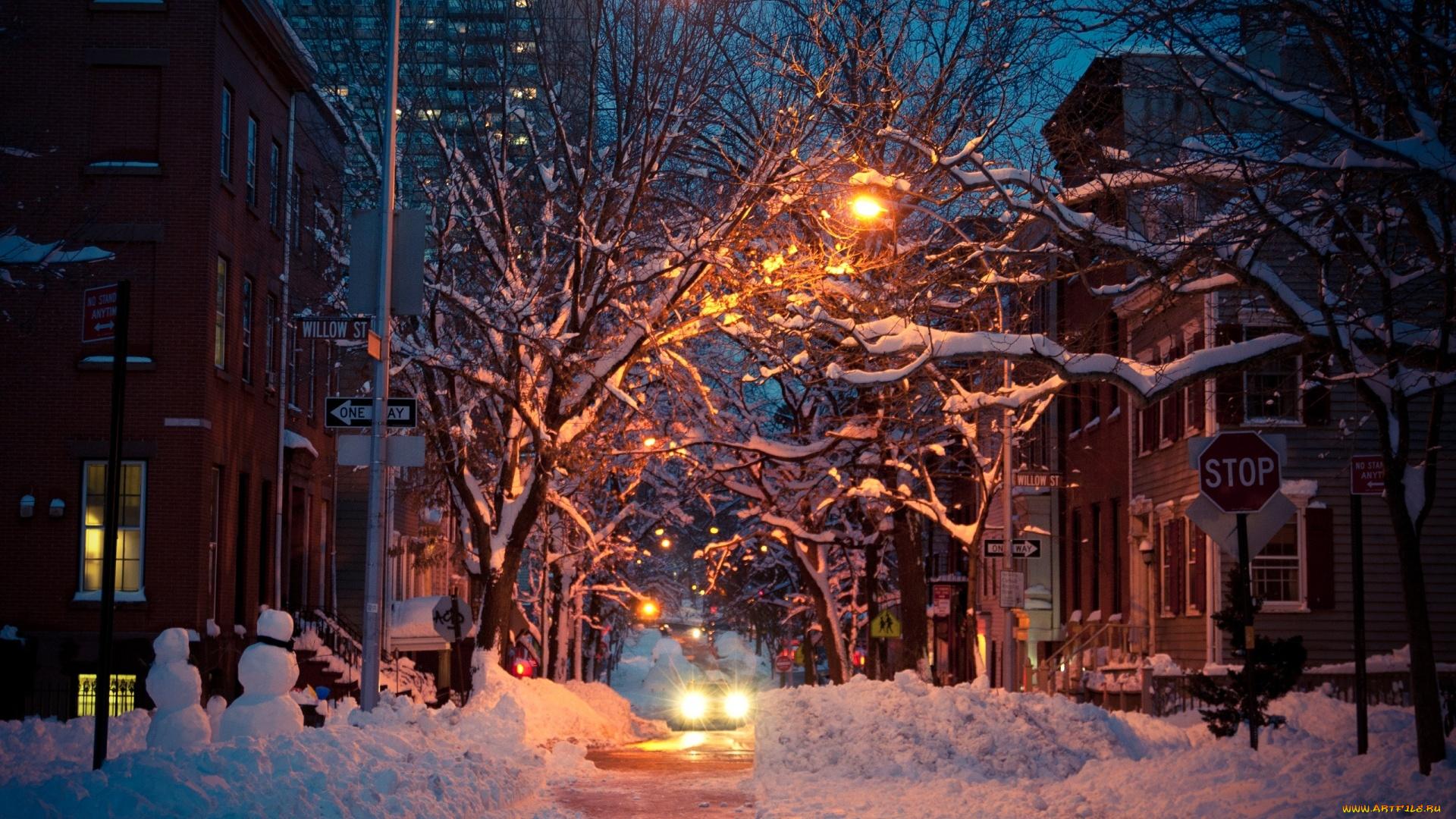 картинки город зима ночь люди, собравшиеся