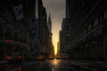 обоя города, нью-йорк , сша, машины, улица, такси, manhattanhenge