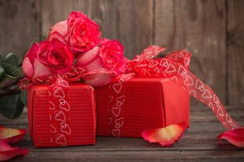 обоя праздничные, день святого валентина,  сердечки,  любовь, ленты, подарки, лепестки, розы, сердечки