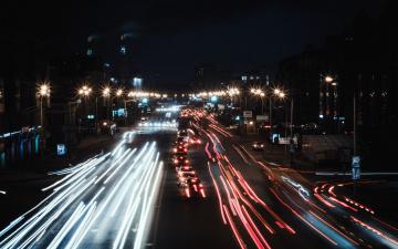 обоя города, - огни ночного города, движение, огни, ночь, шоссе