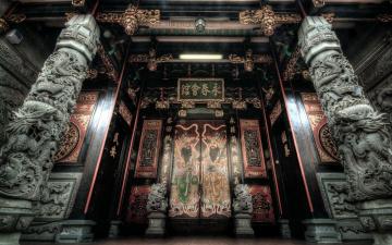 обоя интерьер, дворцы,  музеи, двери, колонны, иероглифы