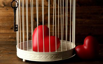 обоя праздничные, день святого валентина,  сердечки,  любовь, клетка, сердечки, ключ