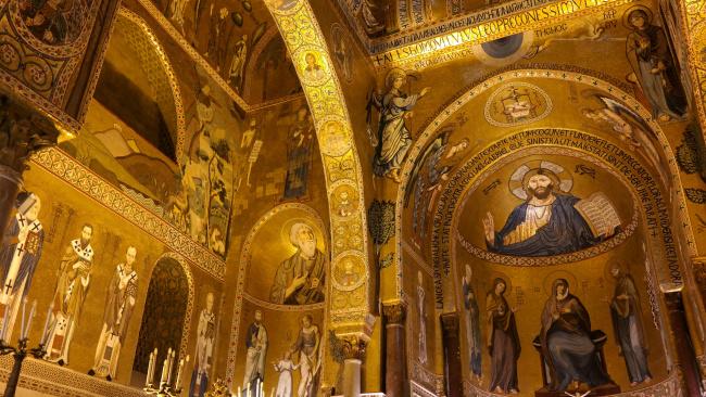 Обои картинки фото интерьер, убранство,  роспись храма, капелла, палатина, италия, часовня, сицилия, палермо, норманнский, дворец, палатинская
