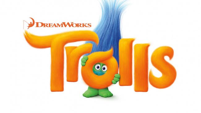 Обои картинки фото мультфильмы, trolls, логотип, фон