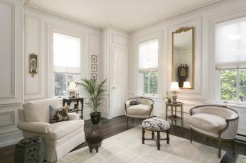 обоя интерьер, гостиная, вазон, стиль, диван, кресло, зеркало