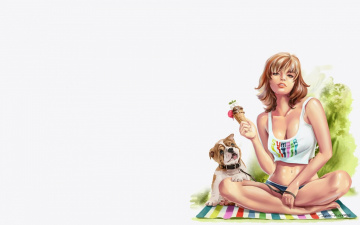 Картинка рисованное люди лето отдых собака арт девушка жара lorri kajenna мороженое