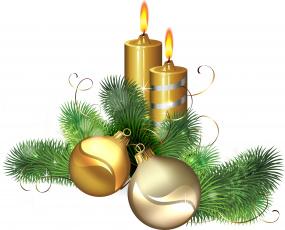 обоя праздничные, векторная графика , новый год, свечи, игрушки, ветки