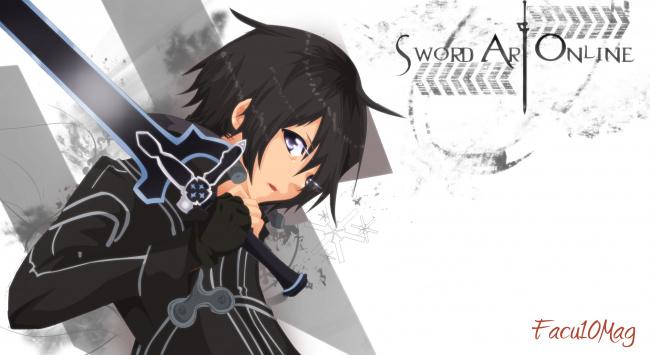 Гифка кирито sword art online аниме гиф картинка, скачать.