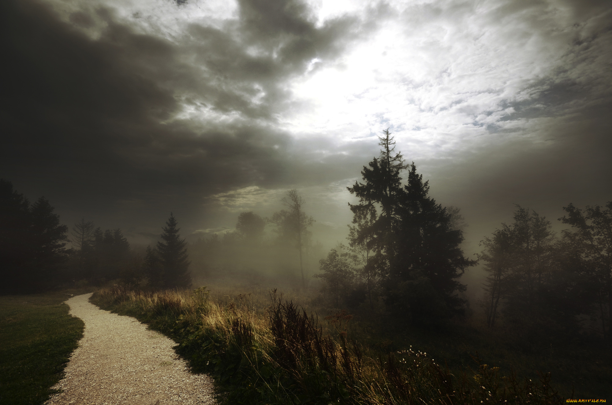 дорога гора тучи мрак бесплатно