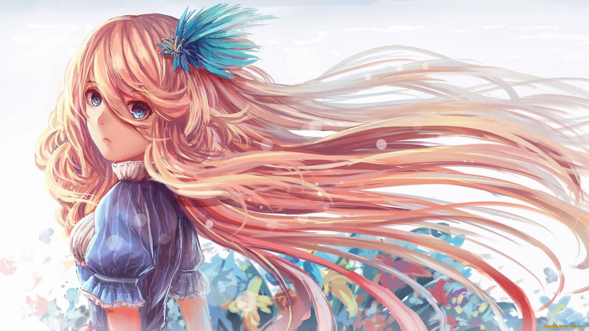 Картинки аниме девушек волосами