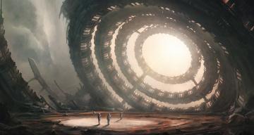 Картинка фэнтези иные+миры +иные+времена сооружение будущее астронавты планета мир иной