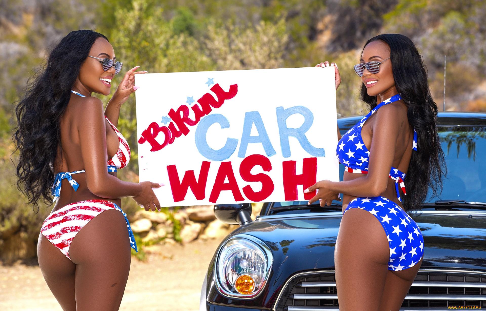 Ebony centerfold models Brittany and Brandi Kelly wash car naked  723484