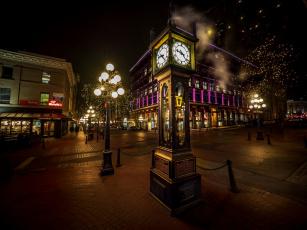 обоя канада, города, - огни ночного города, фонари, часы, здания, витрины, дорога