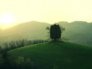 обоя разное, компьютерный дизайн, лужайки, деревья, холмы