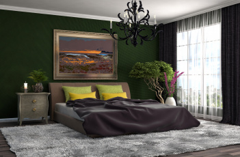 обоя интерьер, спальня, стиль, штора, люстра, кресло, кровать