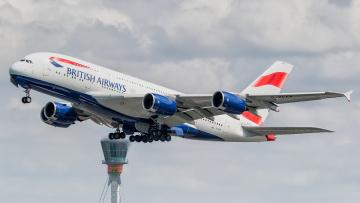 обоя airways a380, авиация, пассажирские самолёты, авиалайнер