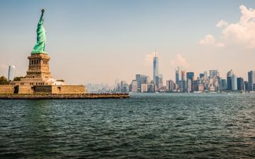 обоя города, нью-йорк , сша, metropolis, new, york, statue, of, liberty