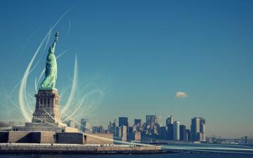 обоя города, нью-йорк , сша, озаряющая, мир