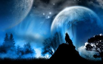обоя разное, компьютерный дизайн, волк, вой, ночь, планеты, силуэт