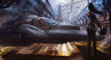 Картинка фэнтези космические корабли звездолеты станции девушка