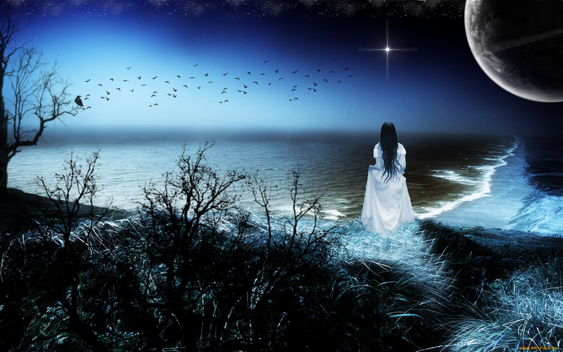 Картинки ночь луна звезды одиночество