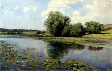 Картинка рисованное илья+остроухов картина кусты кувшинки камыш вода речка в полдень небо остроухов деревья