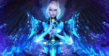 Картинка видео+игры guild+wars+2 gw2 guild wars art девушка взгляд меч красавица рукоять магия крылья dragonhunter